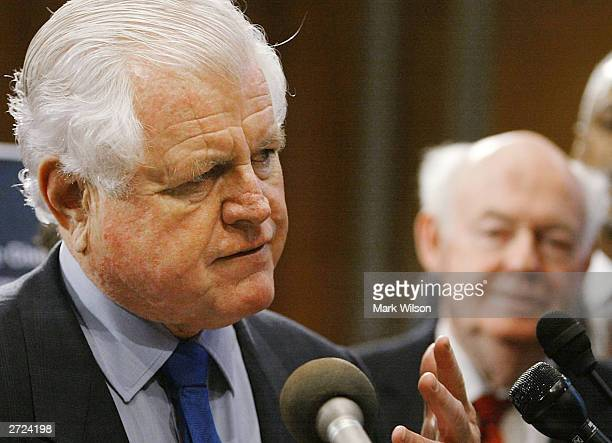 Sen Edward Kennedy delivers remarks with AFLCIO president John Sweeney during a news conference on Capitol Hill November 13 2003 in Washington DC The...