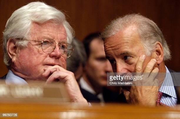 Sen Edward Kennedy DMa and Sen Joseph Biden DDe speak during Attorney General John Ashcroft's testimony at a Senate Judiciary Committee hearing on...