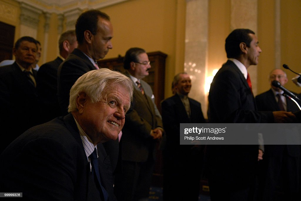 Sen. Edward Kennedy, D-Ny, participates in a press conference on the Immigration bill.