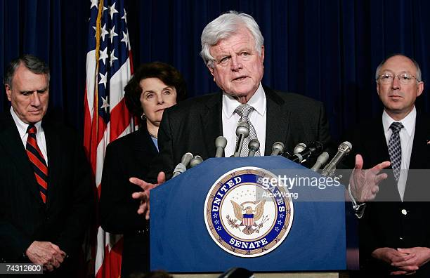 S Sen Edward Kennedy speaks as Sens Jon Kyl Dianne Feinstein and Ken Salazar look on during a news conference May 24 2007 on Capitol Hill in...