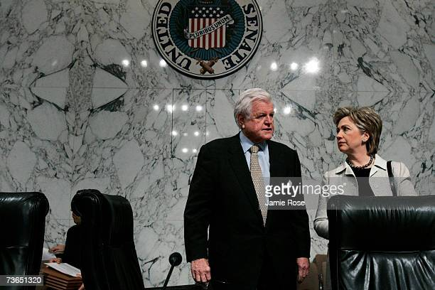 Sen. Edward Kennedy speaks with U.S. Sen. Hillary Clinton before the Senate Committee on Health, Education, Labor and Pensions hearing about the long...
