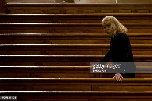 Sen. Edward Kennedy's ex-wife Joan Kennedy attends the funeral services for her former husband at the Basilica of Our Lady of Perpetual Help in...