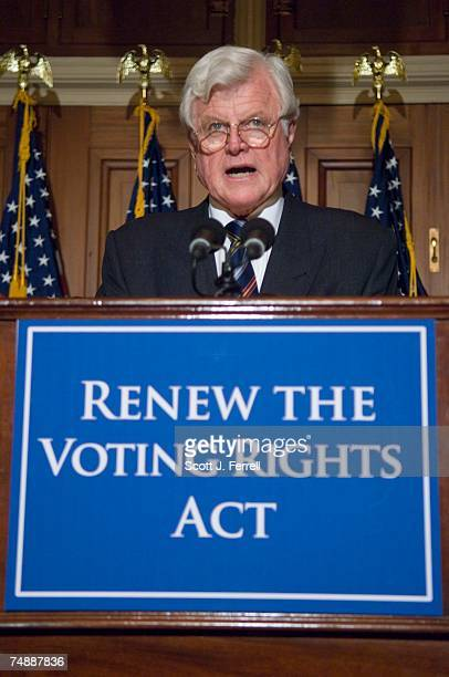 Sen. Edward M. Kennedy, D-Mass., during a news conference with other supporters of the Voting Rights Act, which was being debated on the House floor....