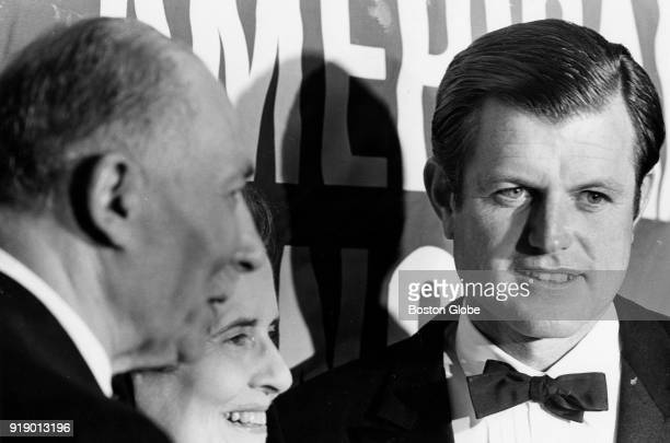 Sen Edward M Kennedy Dr Sidney Farber and Mrs Albert D Lasker honorary chairman of the tribute to Dr Farber aboard the SS Peter Stuyvesant at Pier 4...