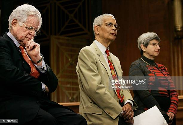 Sen. Edward M. Kennedy , NAACP Chairman Julian Bond, and Judy Lichtman, vice chairman of the Leadership Conference on Civil Rights, listen to Sen....