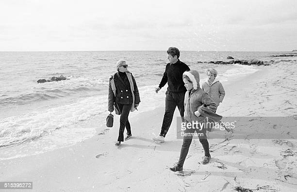 Sen. Edward M. Kennedy, wife Joan, and children Edward Jr. And Kara walk along beach from the home to the Kennedy compound. Joseph P. Kennedy,...