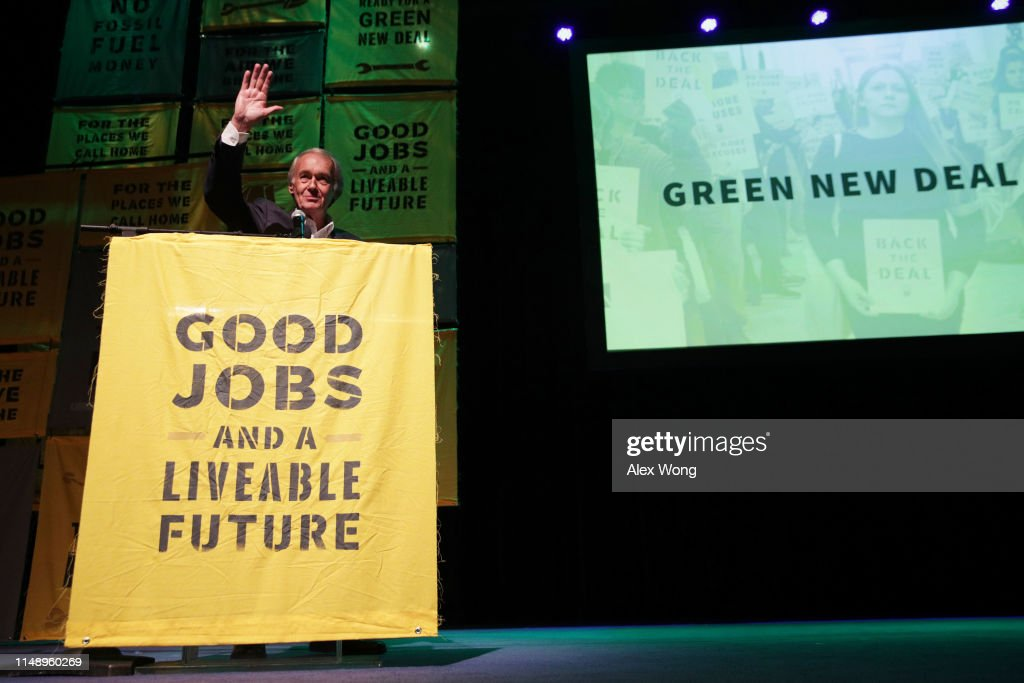 Alexandria Ocasio-Cortez  And Bernie Sanders Attend Green New Deal Rally At Howard University : News Photo