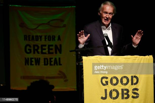 S Sen Edward Markey speaks during a rally at Howard University May 13 2019 in Washington DC The Sunrise Movement held an event for the final stop of...