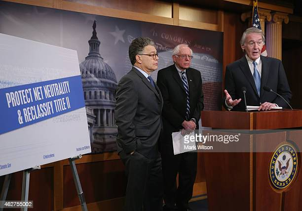 Sen Edward Markey talks about net neutrality while flanked by Sen Bernie Sanders and Sen Al Franken and during a news conference on Capitol Hill...