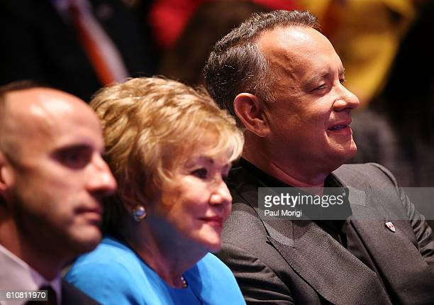 Sen Elizabeth Dole and Campaign Chair Tom Hanks at the launch of the Elizabeth Dole Foundation's Hidden Heroes campaign at US Capitol Visitor Center...