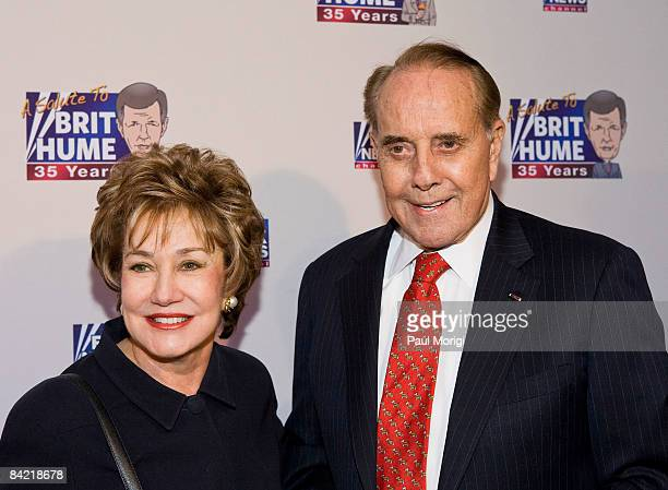 Sen. Elizabeth Dole and Sen. Bob Dole attends salute to Brit Hume at Cafe Milano on January 8, 2009 in Washington, DC.