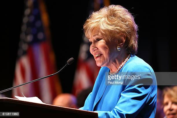 Sen Elizabeth Dole speaks at the launch of the Elizabeth Dole Foundation's Hidden Heroes campaign at US Capitol Visitor Center on September 27 2016...