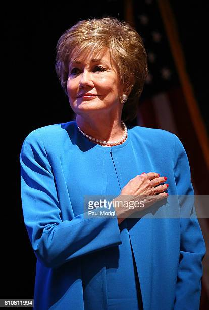 Sen Elizabeth Dole stands at attendion during the singing of the US National Anthem at the launch of the Elizabeth Dole Foundation's Hidden Heroes...