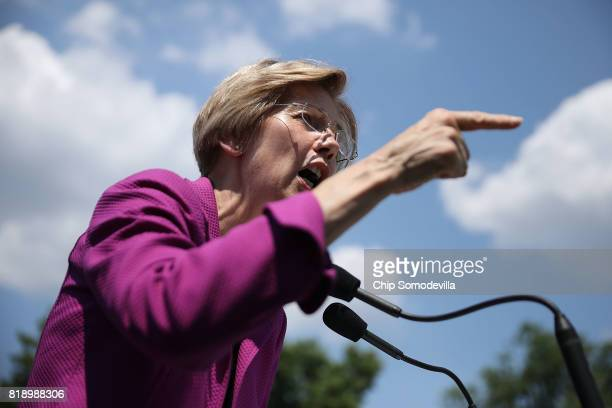 Sen Elizabeth Warren addresses a rally against Trump Administration budget cuts to education funding outside the US Capitol July 19 2017 in...