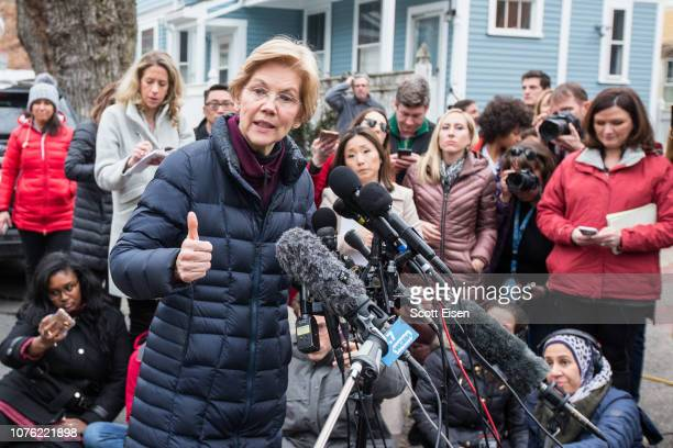 Sen. Elizabeth Warren , addresses the media outside of her home after announcing she formed an exploratory committee for a 2020 Presidential run on...