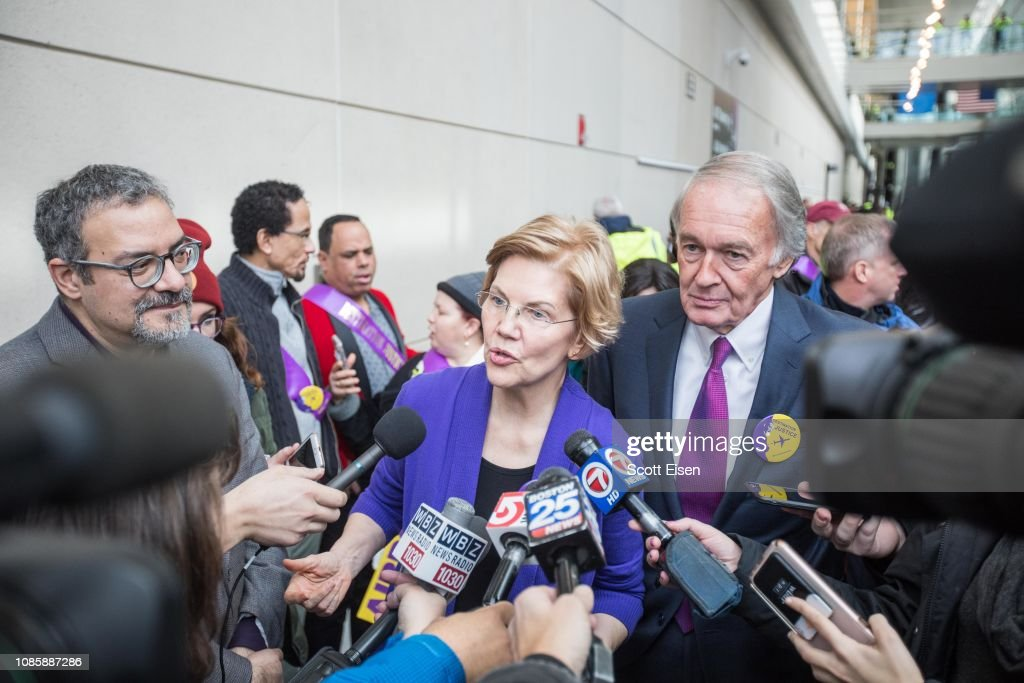 Sen. Elizabeth Warren And Rep. Ayanna Pressley Rally For Airport Workers : News Photo