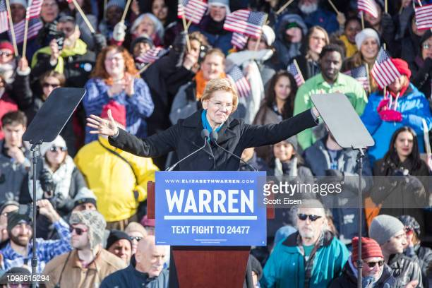Sen Elizabeth Warren announces her official bid for President onFebruary9 2019 in Lawrence Massachusetts Warren announced today that she was...