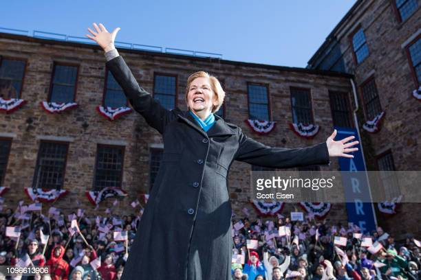 Sen. Elizabeth Warren , announces her official bid for President on February 9, 2019 in Lawrence, Massachusetts. Warren announced today that she was...