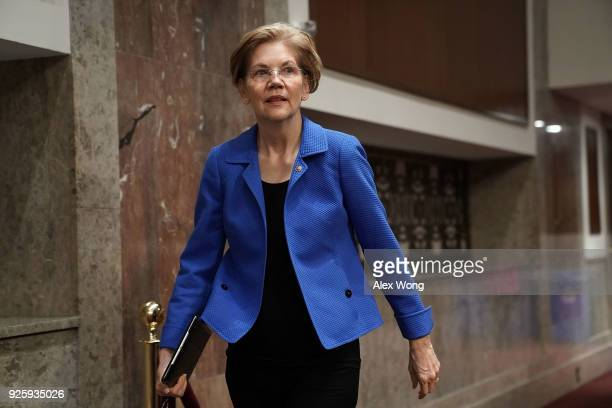 S Sen Elizabeth Warren arrives at a confirmation hearing before the Senate Armed Services Committee March 1 2018 on Capitol Hill in Washington DC