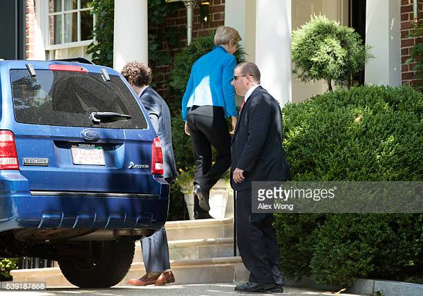 S Sen Elizabeth Warren arrives at the residence of Democratic presidential candidate Hillary Clinton June 10 2016 in Washington DC Warren met with...