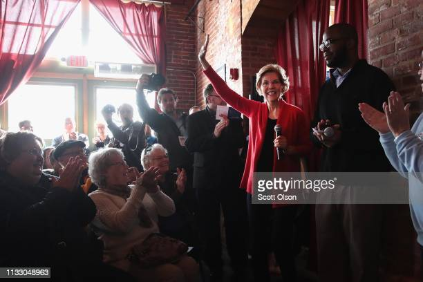 Sen Elizabeth Warren arrives for a campaign rally at the Stone Cliff Winery on March 1 2019 in Dubuque Iowa Warren is campaigning in the state with...