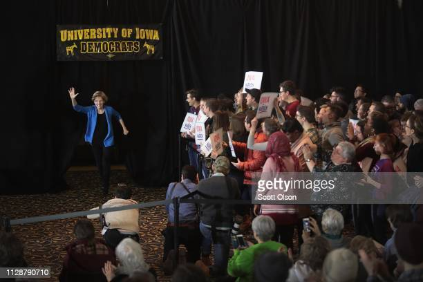 Sen. Elizabeth Warren arrives for a campaign rally at the University of Iowa on February 10, 2019 in Iowa City, Iowa. Warren is making her first...