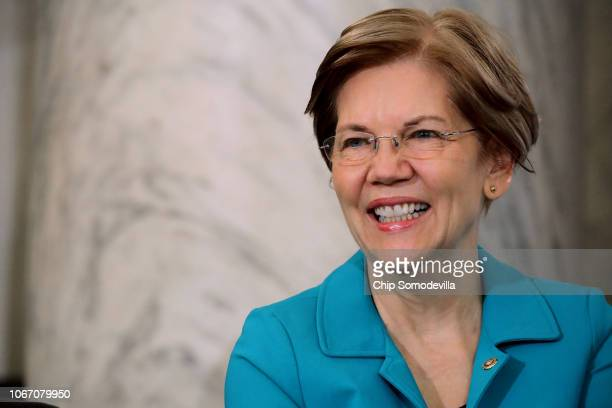 Sen Elizabeth Warren attends the Rev Al Sharpton's National Action Network postmidterm election meeting in the Kennedy Caucus Room at the Russell...