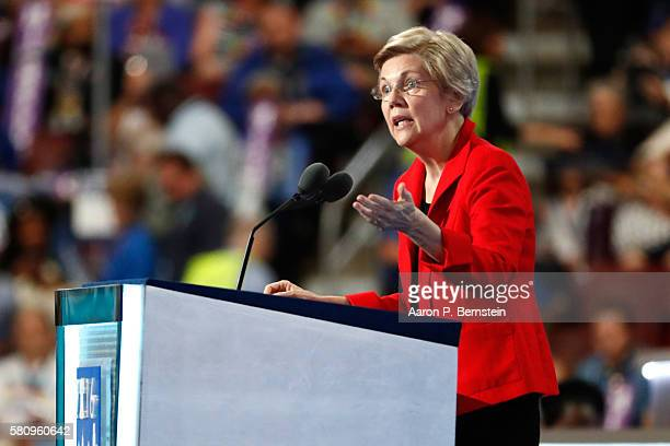 Sen. Elizabeth Warren delivers remarks on the first day of the Democratic National Convention at the Wells Fargo Center, July 25, 2016 in...