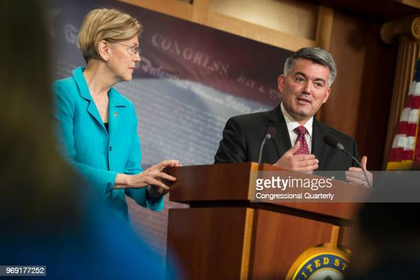 Sen Elizabeth Warren DMass and Sen Cory Gardner RColo hold a press conference in the Senate Radio and TV Gallery to discuss bipartisan action they...