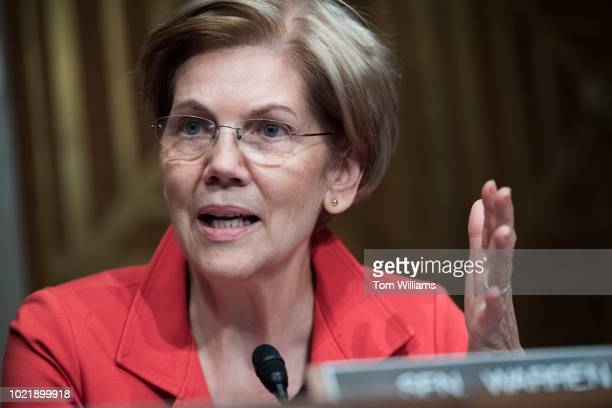 Sen Elizabeth Warren DMass questions witnesses during Senate Health Education Labor and Pensions Committee hearing in Dirksen Building titled...