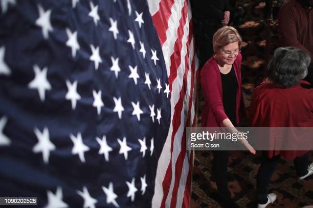 Sen Elizabeth Warren greets guests during an organizing event at the Orpheum Theater on January 5 2019 in Sioux City Iowa Warren announced on...