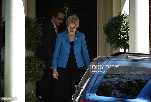 S Sen Elizabeth Warren leaves the residence of Democratic presidential candidate Hillary Clinton June 10 2016 in Washington DC Warren met with...