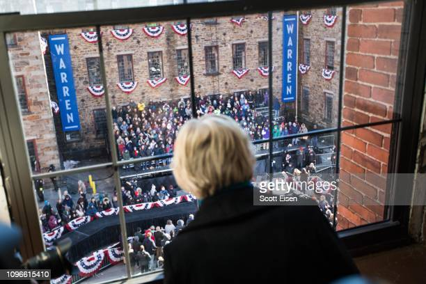 Sen Elizabeth Warren looks down on her event before announcing her official bid for President on February 9 2019 in Lawrence Massachusetts Warren...
