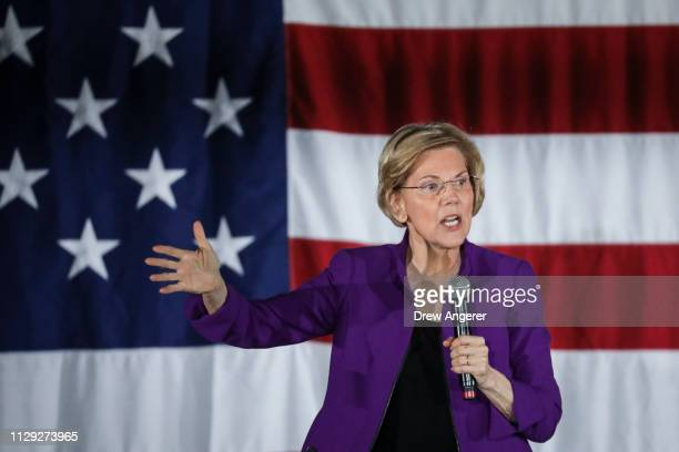 Sen Elizabeth Warren one of several Democrats running for the party's nomination in the 2020 presidential race speaks during a campaign event March 8...