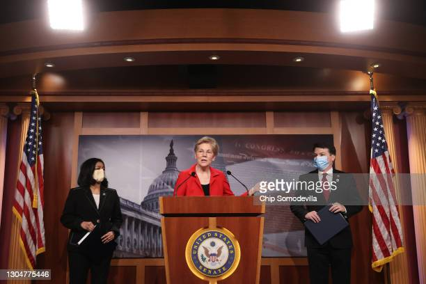 Sen. Elizabeth Warren , Rep. Pramila Jayapal and Rep. Brendan Boyle hold a news conference to announce their legislation that would tax the net worth...