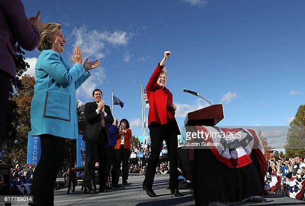 S Sen Elizabeth Warren speaks as democratic presidential nominee former Secretary of State Hillary Clinton looks on during a campaign rally at St...