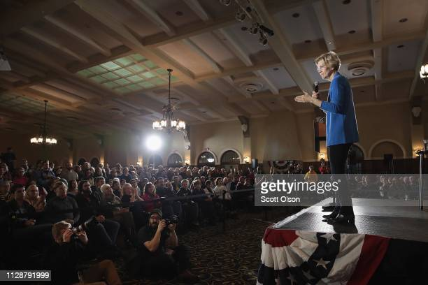 Sen Elizabeth Warren speaks at a campaign rally at the University of Iowa on February 10 2019 in Iowa City Iowa Warren is making her first three...