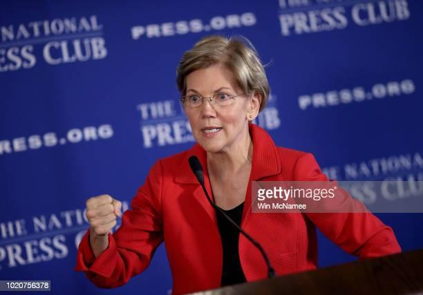 Sen Elizabeth Warren speaks at the National Press Club August 21 2018 in Washington DC Warren spoke on ending corruption in the nation's capital...