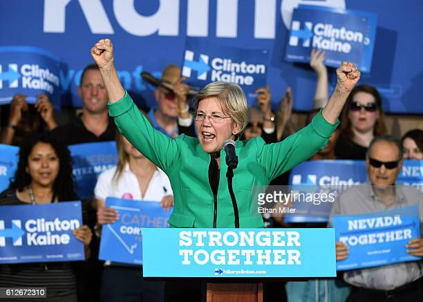 S Sen Elizabeth Warren speaks at The Springs Preserve on October 4 2016 in Las Vegas Nevada Warren is campaigning for Democratic presidential nominee...