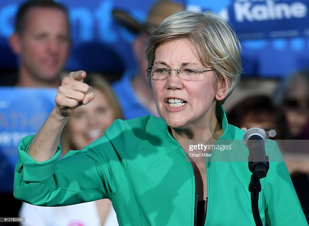 U.S. Sen. Elizabeth Warren (D-MA) speaks at The Springs Preserve on October 4, 2016 in Las Vegas, Nevada. Warren is campaigning for Democratic presidential nominee Hillary Clinton and former Nevada Attorney General and U.S. Senate candidate Catherine Cortez Masto.