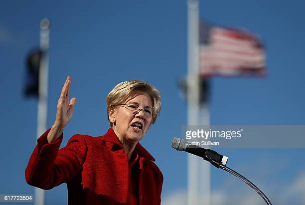 S Sen Elizabeth Warren speaks during a campaign rally with democratic presidential nominee former Secretary of State Hillary Clinton at St Saint...