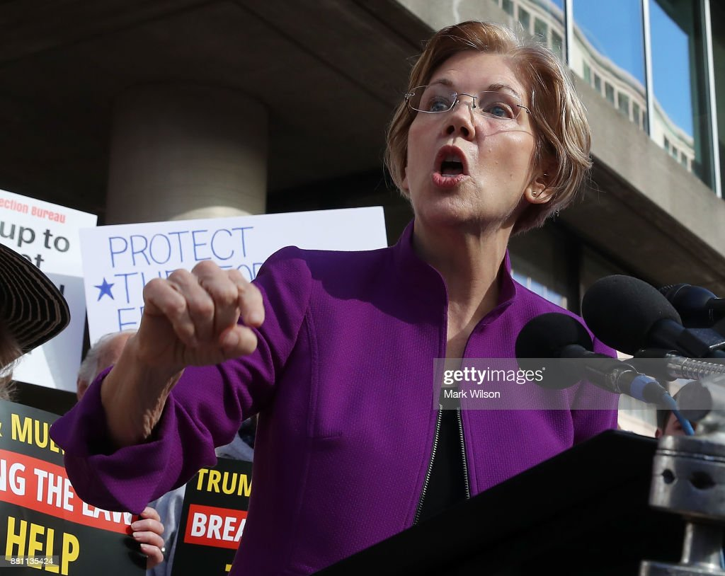 Sen. Elizabeth Warren  Attends Protest Outside The Consumer Financial Protection Bureau  Headquarters