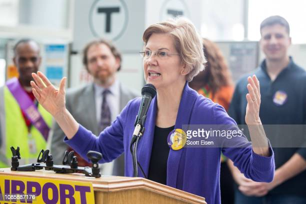 Sen Elizabeth Warren speaks during a rally for airport workers affected by the government shutdown at Boston Logan International Airport on January...