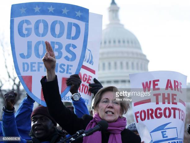 S Sen Elizabeth Warren speaks during a rally 'to fightback against the Republican war on the working class' February 16 2017 at Upper Senate Park on...