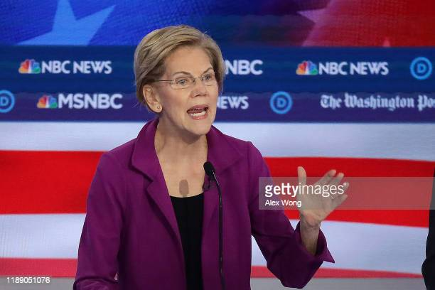 Sen Elizabeth Warren speaks during the Democratic Presidential Debate at Tyler Perry Studios November 20 2019 in Atlanta Georgia Ten Democratic...