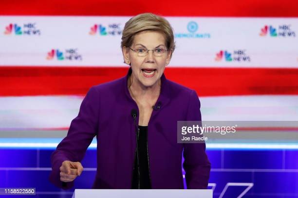 Sen. Elizabeth Warren speaks during the first night of the Democratic presidential debate on June 26, 2019 in Miami, Florida. A field of 20...