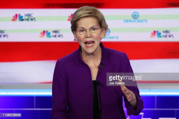 Sen Elizabeth Warren speaks during the first night of the Democratic presidential debate on June 26 2019 in Miami Florida A field of 20 Democratic...