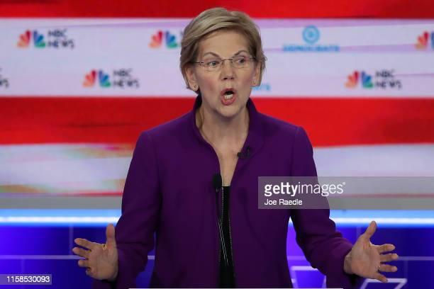 Sen Elizabeth Warren speaks during the first night of the Democratic presidential debate on June 26 2019 in Miami Florida A field of 20 Democratic...