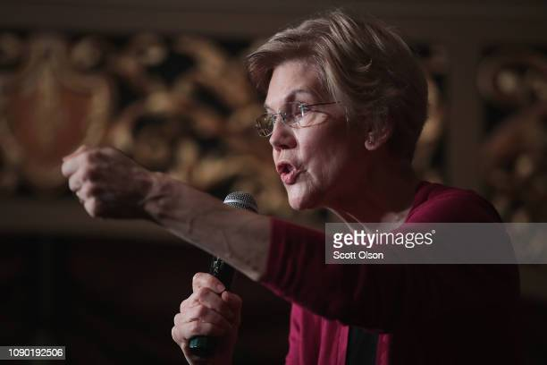 Sen Elizabeth Warren speaks to guests during an organizing event at the Orpheum Theater on January 5 2019 in Sioux City Iowa Warren announced on...