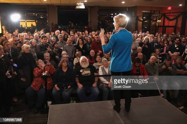 Sen Elizabeth Warren speaks to potential voters during a campaign stop at McCoy's Bar Patio and Grill on January 4 2019 in Council Bluffs Iowa Warren...